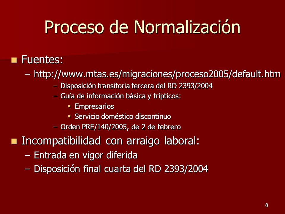 8 Proceso de Normalización Fuentes: Fuentes: –http://www.mtas.es/migraciones/proceso2005/default.htm –Disposición transitoria tercera del RD 2393/2004