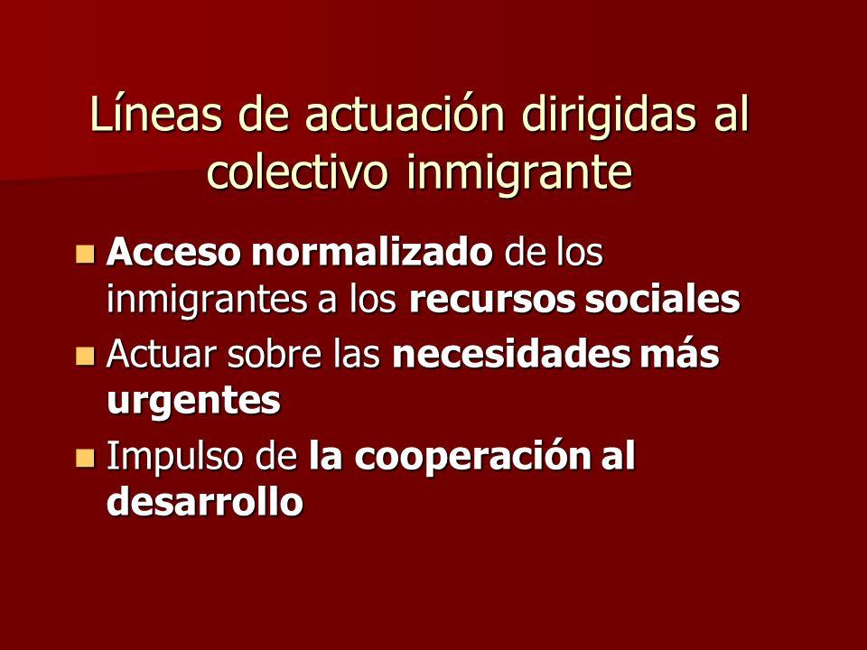 Líneas de actuación dirigidas al colectivo inmigrante Acceso normalizado de los inmigrantes a los recursos sociales Acceso normalizado de los inmigrantes a los recursos sociales Actuar sobre las necesidades más urgentes Actuar sobre las necesidades más urgentes Impulso de la cooperación al desarrollo Impulso de la cooperación al desarrollo