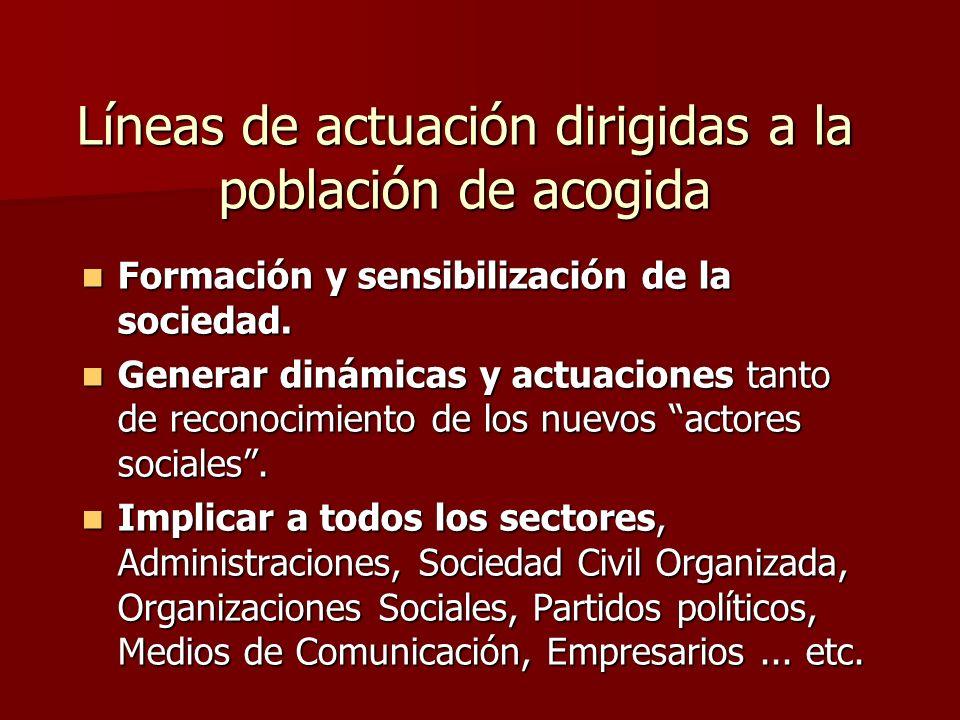 Líneas de actuación dirigidas a la población de acogida Formación y sensibilización de la sociedad.