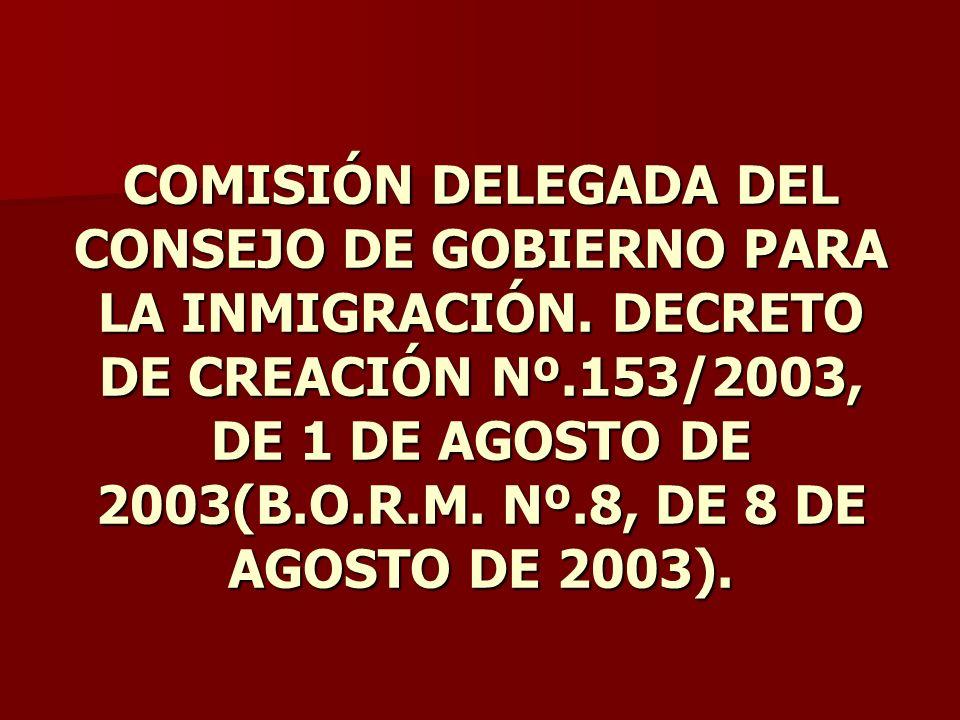 COMISIÓN DELEGADA DEL CONSEJO DE GOBIERNO PARA LA INMIGRACIÓN. DECRETO DE CREACIÓN Nº.153/2003, DE 1 DE AGOSTO DE 2003(B.O.R.M. Nº.8, DE 8 DE AGOSTO D