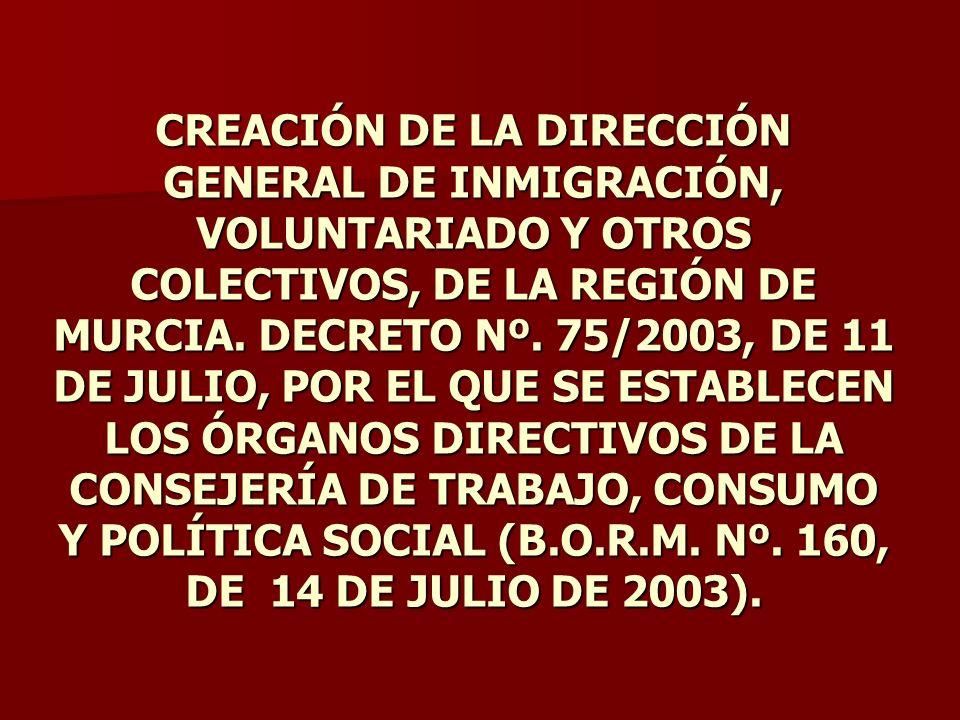 CREACIÓN DE LA DIRECCIÓN GENERAL DE INMIGRACIÓN, VOLUNTARIADO Y OTROS COLECTIVOS, DE LA REGIÓN DE MURCIA. DECRETO Nº. 75/2003, DE 11 DE JULIO, POR EL