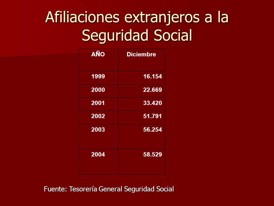 Afiliaciones extranjeros a la Seguridad Social AÑOAÑO Diciembre 199916.154 200022.669 200133.420 200251.791 200356.254 200458.529 Fuente: Tesorería General Seguridad Social