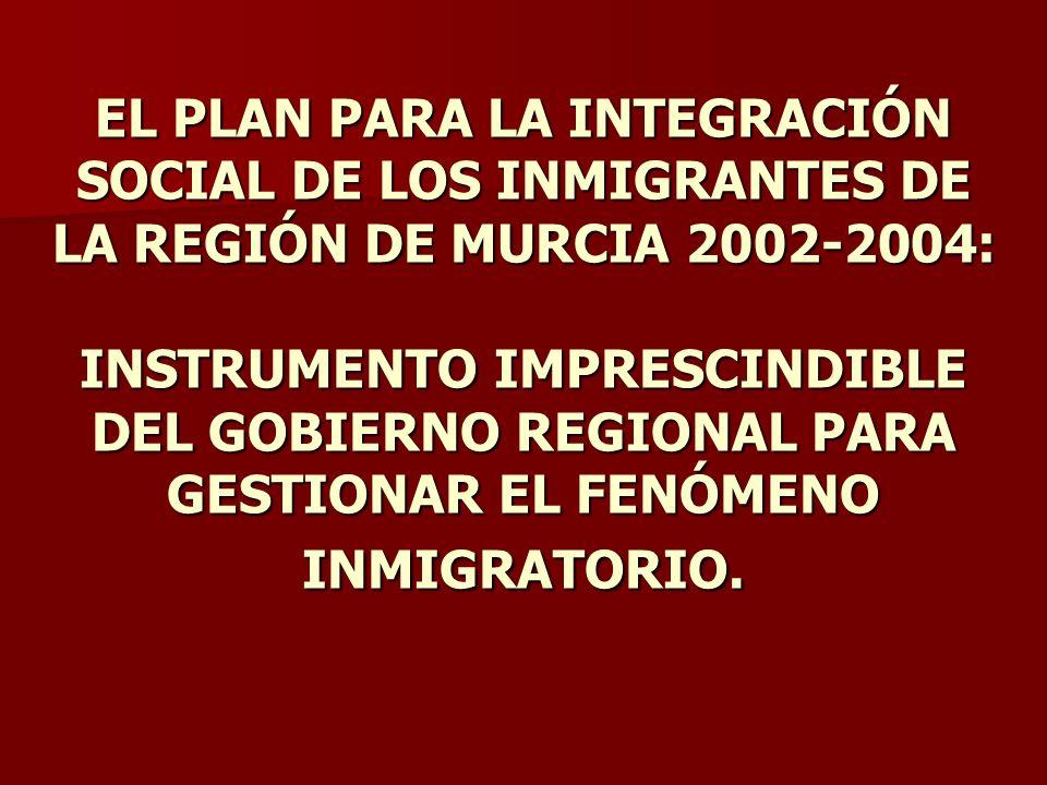 EL PLAN PARA LA INTEGRACIÓN SOCIAL DE LOS INMIGRANTES DE LA REGIÓN DE MURCIA 2002-2004: INSTRUMENTO IMPRESCINDIBLE DEL GOBIERNO REGIONAL PARA GESTIONAR EL FENÓMENO INMIGRATORIO.