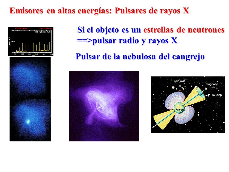 Emisores en altas energías: Pulsares de rayos X Si el objeto es un estrellas de neutrones ==>pulsar radio y rayos X Pulsar de la nebulosa del cangrejo