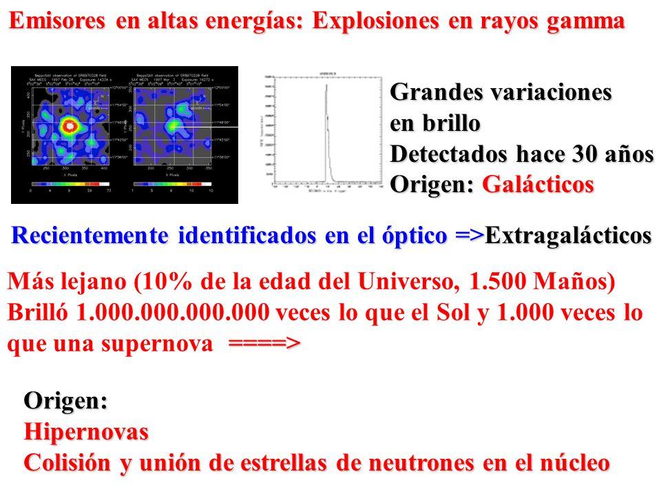 Emisores en altas energías: Explosiones en rayos gamma Grandes variaciones en brillo Detectados hace 30 años Origen: Galácticos Recientemente identifi