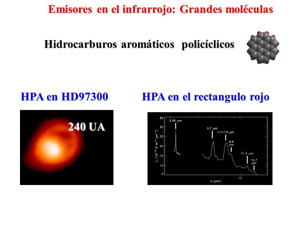 Hidrocarburos aromáticos policíclicos HPA en HD97300 240 UA HPA en el rectangulo rojo Emisores en el infrarrojo: Grandes moléculas