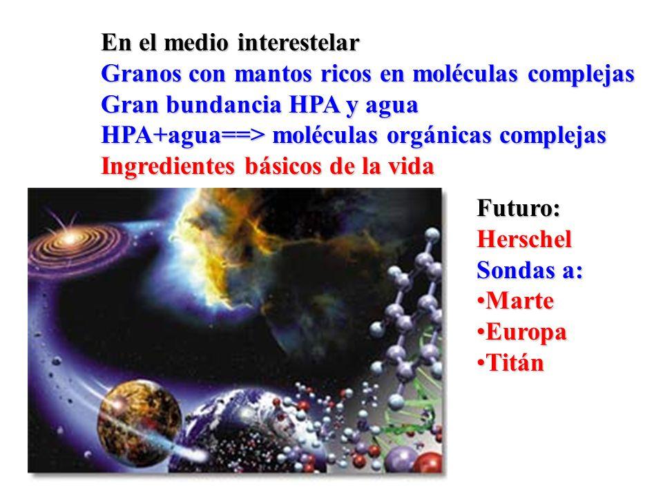 En el medio interestelar Granos con mantos ricos en moléculas complejas Gran bundancia HPA y agua HPA+agua==> moléculas orgánicas complejas Ingredient