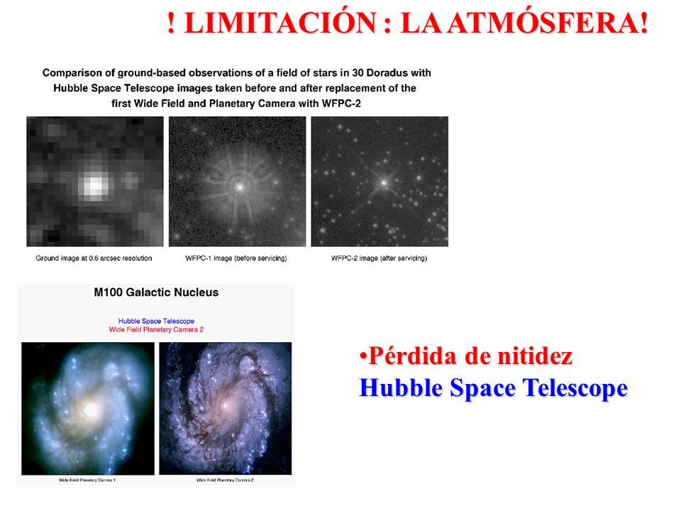 Pérdida de nitidezPérdida de nitidez Hubble Space Telescope ! LIMITACIÓN : LA ATMÓSFERA!