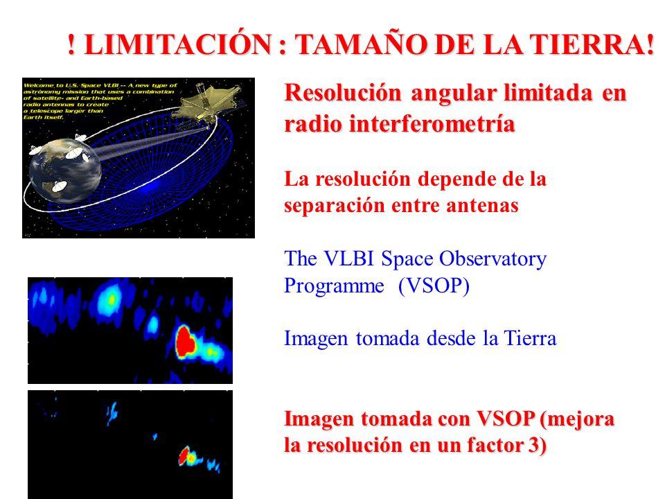Resolución angular limitada en radio interferometría La resolución depende de la separación entre antenas The VLBI Space Observatory Programme (VSOP)