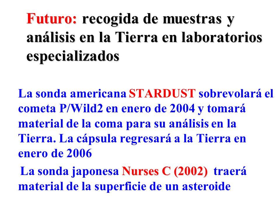 Futuro: recogida de muestras y análisis en la Tierra en laboratorios especializados La sonda americana STARDUST sobrevolará el cometa P/Wild2 en enero