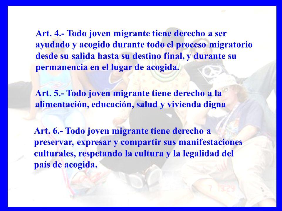 Art. 6.- Todo joven migrante tiene derecho a preservar, expresar y compartir sus manifestaciones culturales, respetando la cultura y la legalidad del