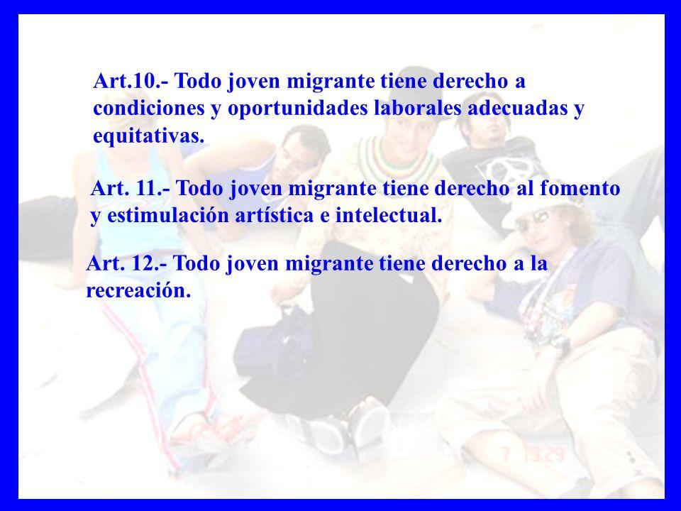 Art.10.- Todo joven migrante tiene derecho a condiciones y oportunidades laborales adecuadas y equitativas. Art. 11.- Todo joven migrante tiene derech