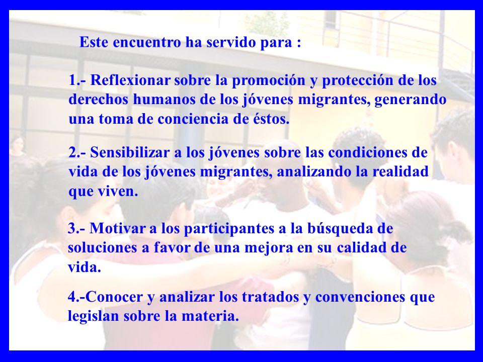 9.- Facilitar propuestas que impliquen a los jóvenes en la integración de los inmigrantes en su entorno 5.- Propiciar la práctica de los derechos de los jóvenes migrantes en todos los aspectos de la vida cotidiana (familia, comunidad, escuela, trabajo).