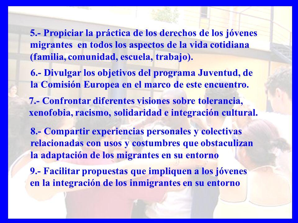 9.- Facilitar propuestas que impliquen a los jóvenes en la integración de los inmigrantes en su entorno 5.- Propiciar la práctica de los derechos de l