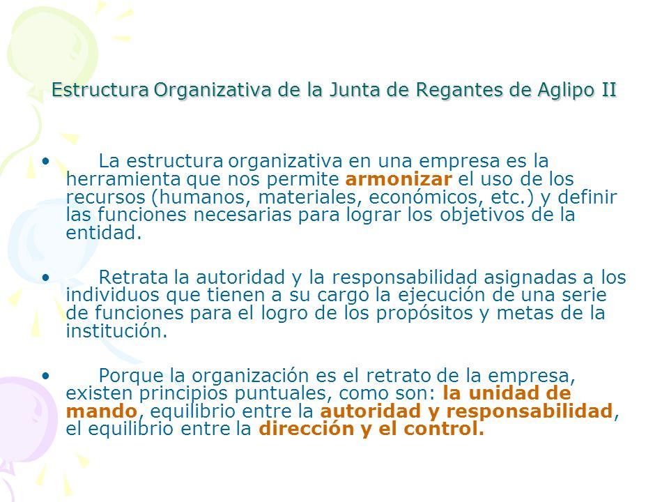 Estructura Organizativa de la Junta de Regantes de Aglipo II La estructura organizativa en una empresa es la herramienta que nos permite armonizar el
