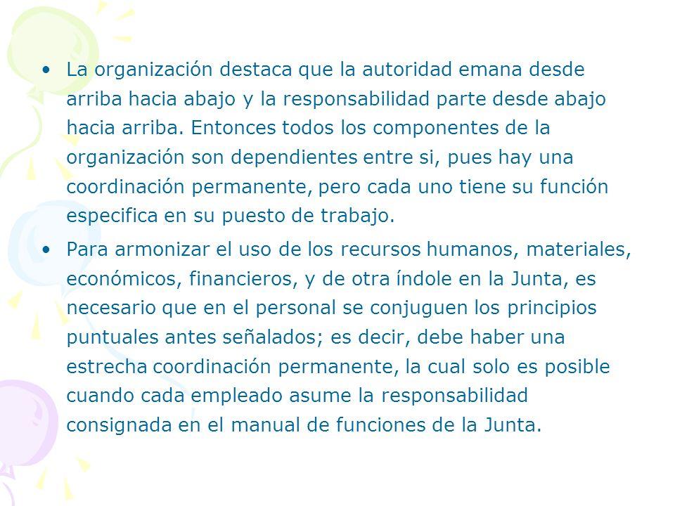 La organización destaca que la autoridad emana desde arriba hacia abajo y la responsabilidad parte desde abajo hacia arriba. Entonces todos los compon