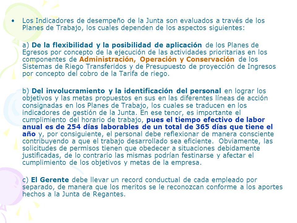 Los Indicadores de desempeño de la Junta son evaluados a través de los Planes de Trabajo, los cuales dependen de los aspectos siguientes: a) De la fle