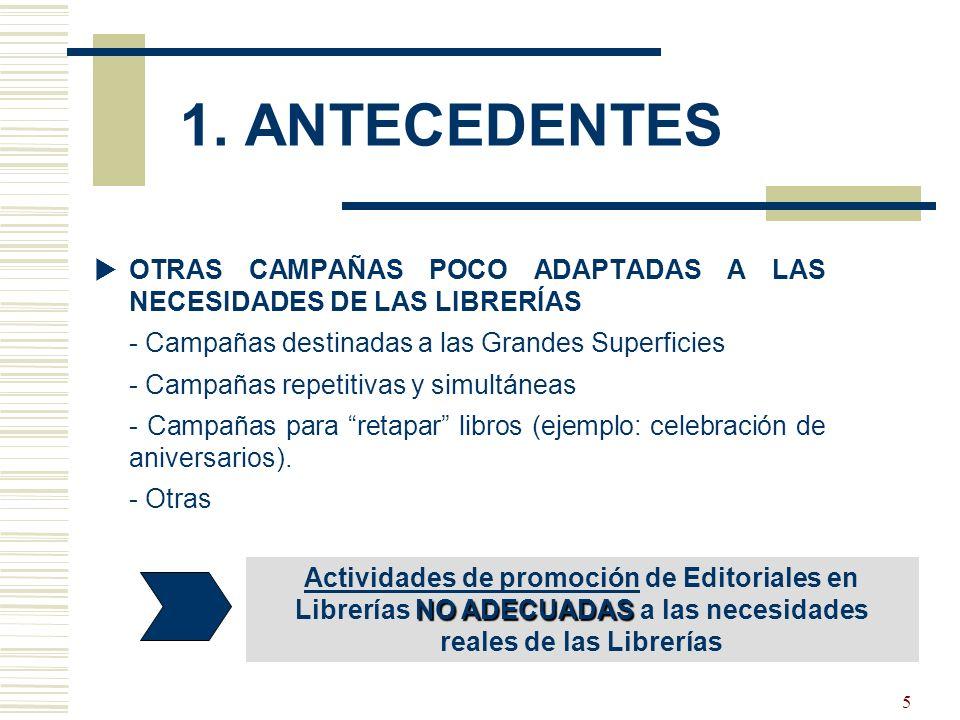 5 OTRAS CAMPAÑAS POCO ADAPTADAS A LAS NECESIDADES DE LAS LIBRERÍAS - Campañas destinadas a las Grandes Superficies - Campañas repetitivas y simultáneas - Campañas para retapar libros (ejemplo: celebración de aniversarios).