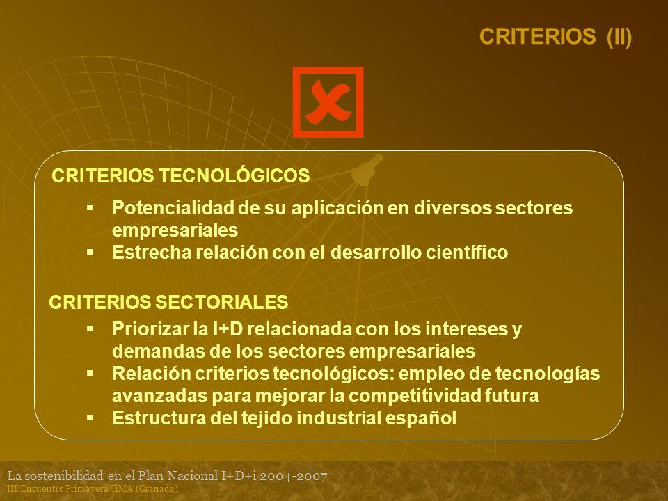 La sostenibilidad en el Plan Nacional I+D+i 2004-2007 III Encuentro Primavera CiMA (Granada) CRITERIOS (II) CRITERIOS TECNOLÓGICOS Potencialidad de su aplicación en diversos sectores empresariales Estrecha relación con el desarrollo científico CRITERIOS SECTORIALES Priorizar la I+D relacionada con los intereses y demandas de los sectores empresariales Relación criterios tecnológicos: empleo de tecnologías avanzadas para mejorar la competitividad futura Estructura del tejido industrial español