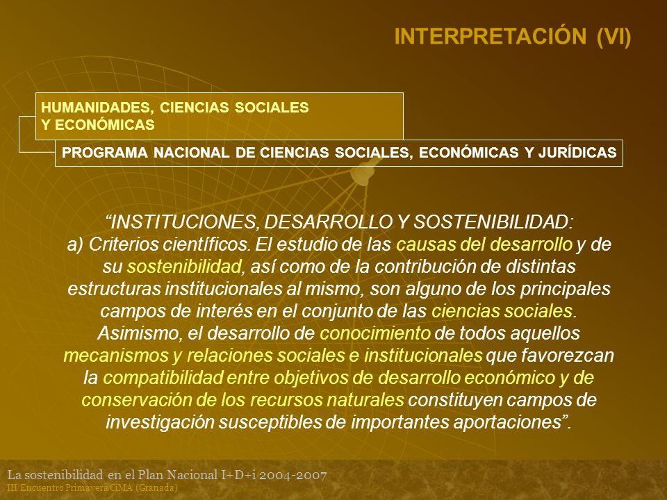 La sostenibilidad en el Plan Nacional I+D+i 2004-2007 III Encuentro Primavera CiMA (Granada) INTERPRETACIÓN (VI) HUMANIDADES, CIENCIAS SOCIALES Y ECONÓMICAS PROGRAMA NACIONAL DE CIENCIAS SOCIALES, ECONÓMICAS Y JURÍDICAS INSTITUCIONES, DESARROLLO Y SOSTENIBILIDAD: a) Criterios científicos.