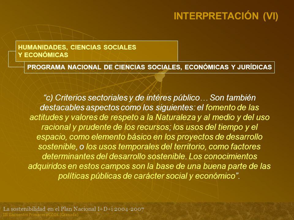 La sostenibilidad en el Plan Nacional I+D+i 2004-2007 III Encuentro Primavera CiMA (Granada) INTERPRETACIÓN (VI) HUMANIDADES, CIENCIAS SOCIALES Y ECONÓMICAS PROGRAMA NACIONAL DE CIENCIAS SOCIALES, ECONÓMICAS Y JURÍDICAS c) Criterios sectoriales y de intéres público… Son también destacables aspectos como los siguientes: el fomento de las actitudes y valores de respeto a la Naturaleza y al medio y del uso racional y prudente de los recursos; los usos del tiempo y el espacio, como elemento básico en los proyectos de desarrollo sostenible, o los usos temporales del territorio, como factores determinantes del desarrollo sostenible.