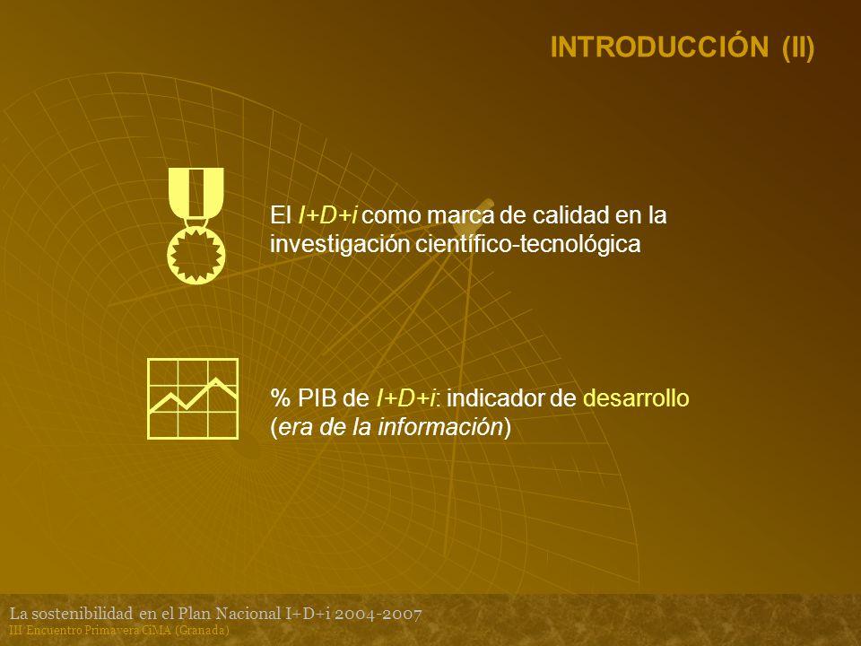 La sostenibilidad en el Plan Nacional I+D+i 2004-2007 III Encuentro Primavera CiMA (Granada) INTRODUCCIÓN (II) El I+D+i como marca de calidad en la investigación científico-tecnológica % PIB de I+D+i: indicador de desarrollo (era de la información)