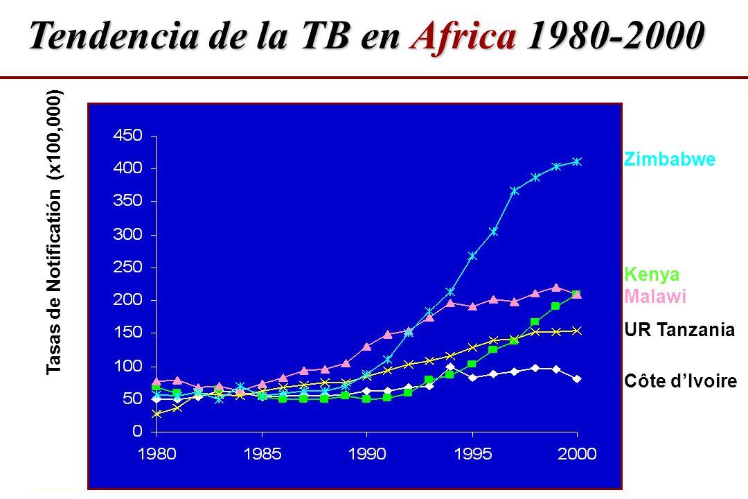 Tendencia de la TB en Africa 1980-2000 Tasas de Notificatión (x100,000) Zimbabwe Kenya Malawi UR Tanzania Côte dIvoire