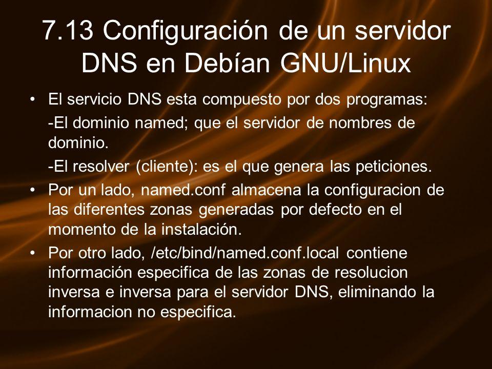7.13 Configuración de un servidor DNS en Debían GNU/Linux El servicio DNS esta compuesto por dos programas: -El dominio named; que el servidor de nomb