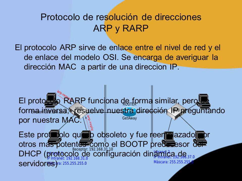 Protocolo de resolución de direcciones ARP y RARP El protocolo ARP sirve de enlace entre el nivel de red y el de enlace del modelo OSI. Se encarga de