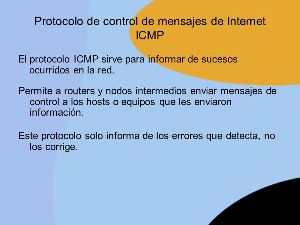 Protocolo de control de mensajes de Internet ICMP El protocolo ICMP sirve para informar de sucesos ocurridos en la red. Permite a routers y nodos inte