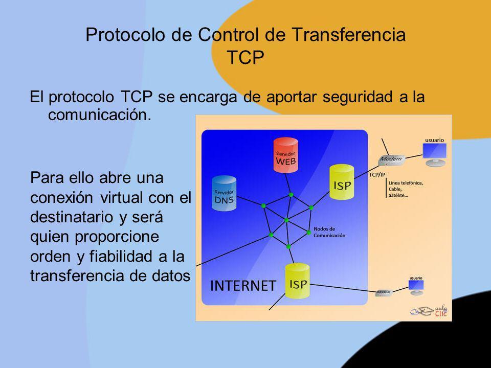 Protocolo de Control de Transferencia TCP El protocolo TCP se encarga de aportar seguridad a la comunicación. Para ello abre una conexión virtual con