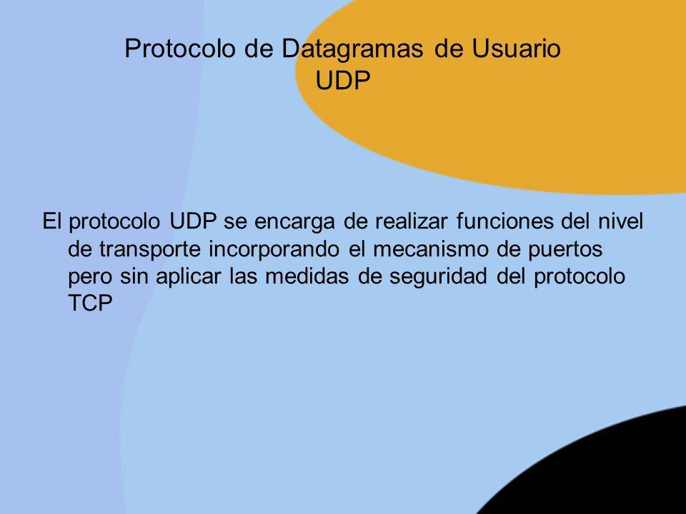 Protocolo de Datagramas de Usuario UDP El protocolo UDP se encarga de realizar funciones del nivel de transporte incorporando el mecanismo de puertos