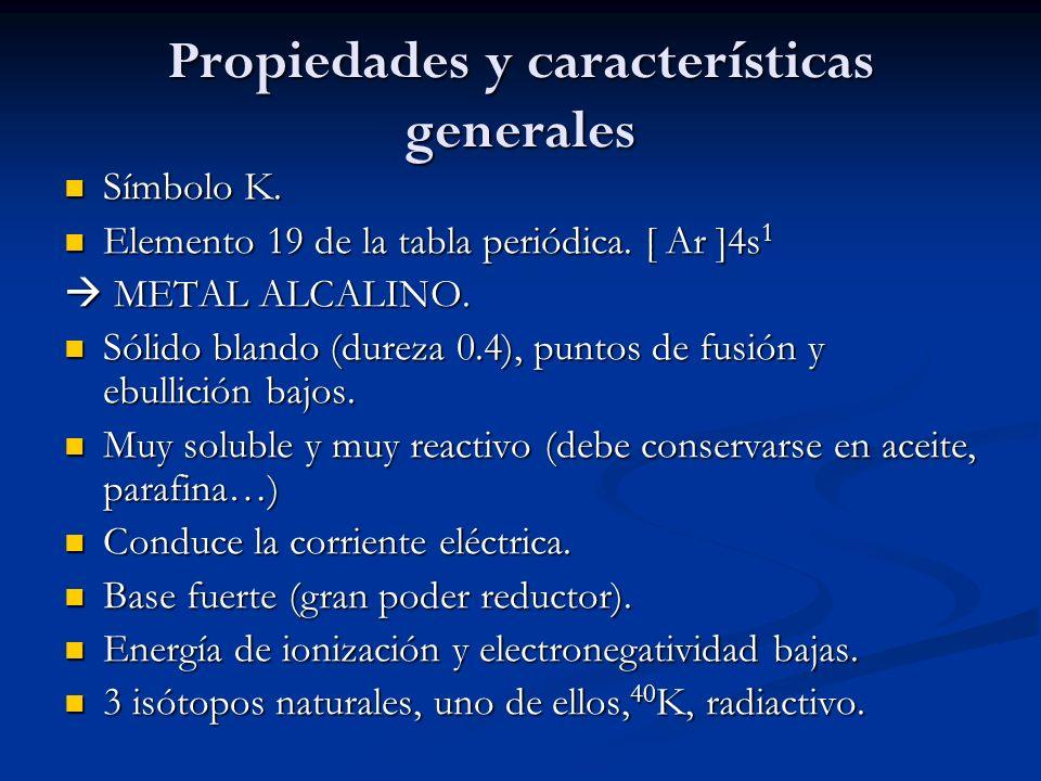 Propiedades y características generales Símbolo K. Símbolo K. Elemento 19 de la tabla periódica. [ Ar ]4s 1 Elemento 19 de la tabla periódica. [ Ar ]4
