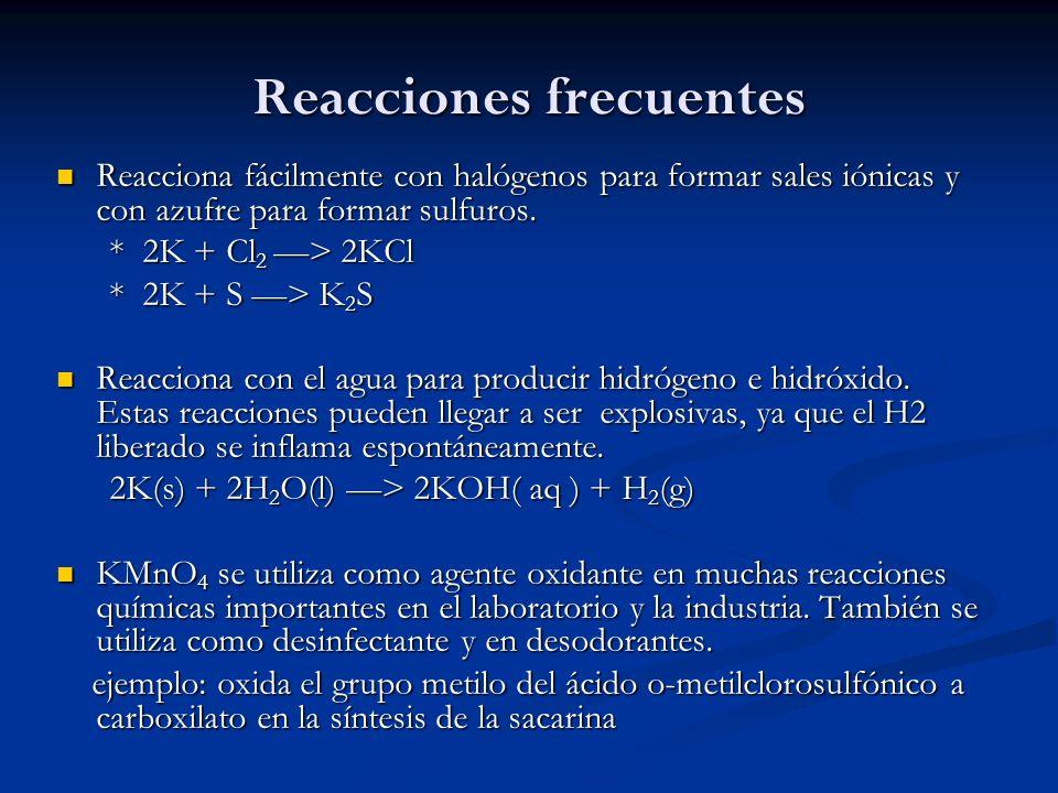 Reacciones frecuentes Reacciona fácilmente con halógenos para formar sales iónicas y con azufre para formar sulfuros. Reacciona fácilmente con halógen