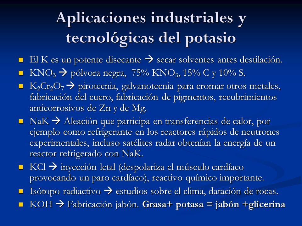 Aplicaciones industriales y tecnológicas del potasio El K es un potente disecante secar solventes antes destilación. El K es un potente disecante seca
