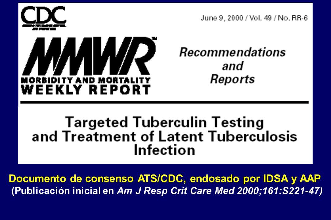 Documento de consenso ATS/CDC, endosado por IDSA y AAP (Publicación inicial en Am J Resp Crit Care Med 2000;161:S221-47)
