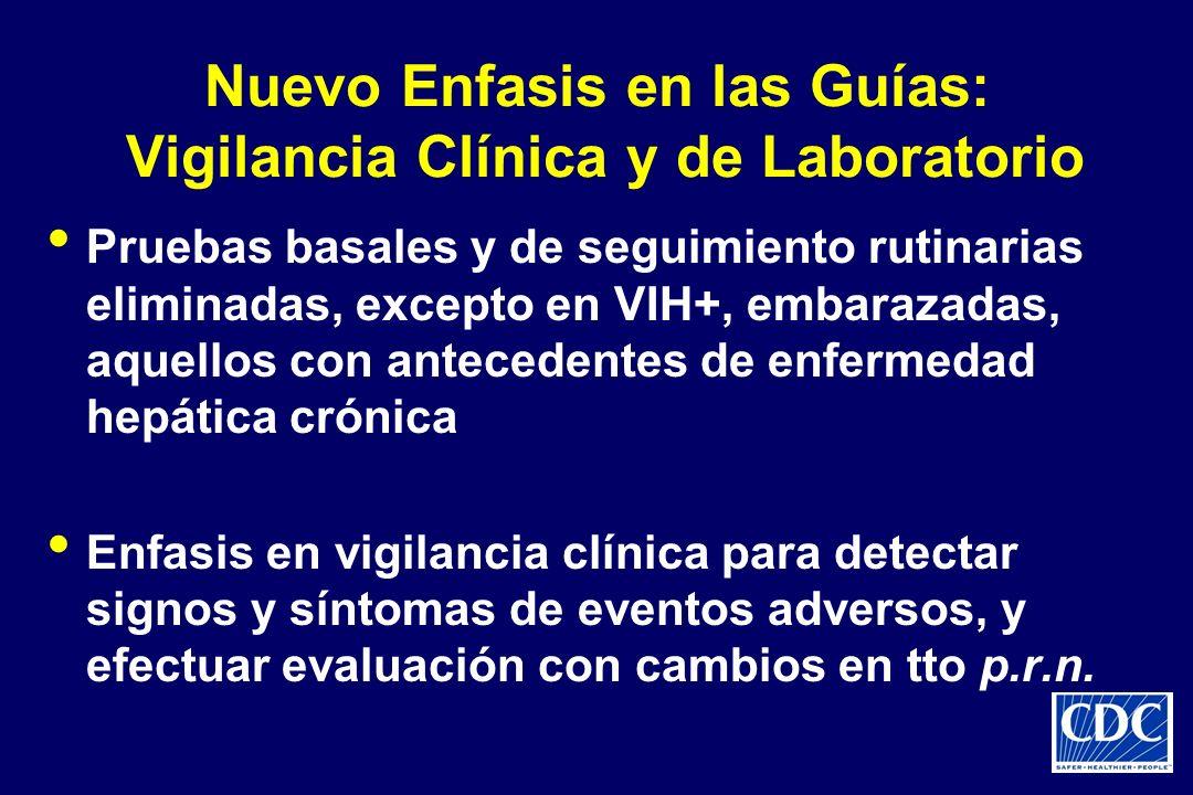 Nuevo Enfasis en las Guías: Vigilancia Clínica y de Laboratorio Pruebas basales y de seguimiento rutinarias eliminadas, excepto en VIH+, embarazadas,