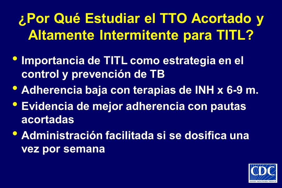 ¿Por Qué Estudiar el TTO Acortado y Altamente Intermitente para TITL? Importancia de TITL como estrategia en el control y prevención de TB Adherencia