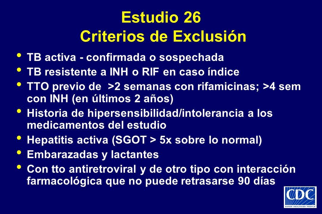 Estudio 26 Criterios de Exclusión TB activa - confirmada o sospechada TB resistente a INH o RIF en caso índice TTO previo de >2 semanas con rifamicina