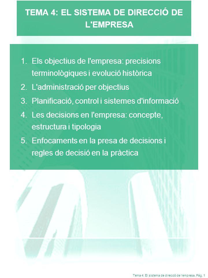 Tema 4: El sistema de direcció de lempresa. Pág. 1 TEMA 4: EL SISTEMA DE DIRECCIÓ DE L'EMPRESA 1.Els objectius de l'empresa: precisions terminològique