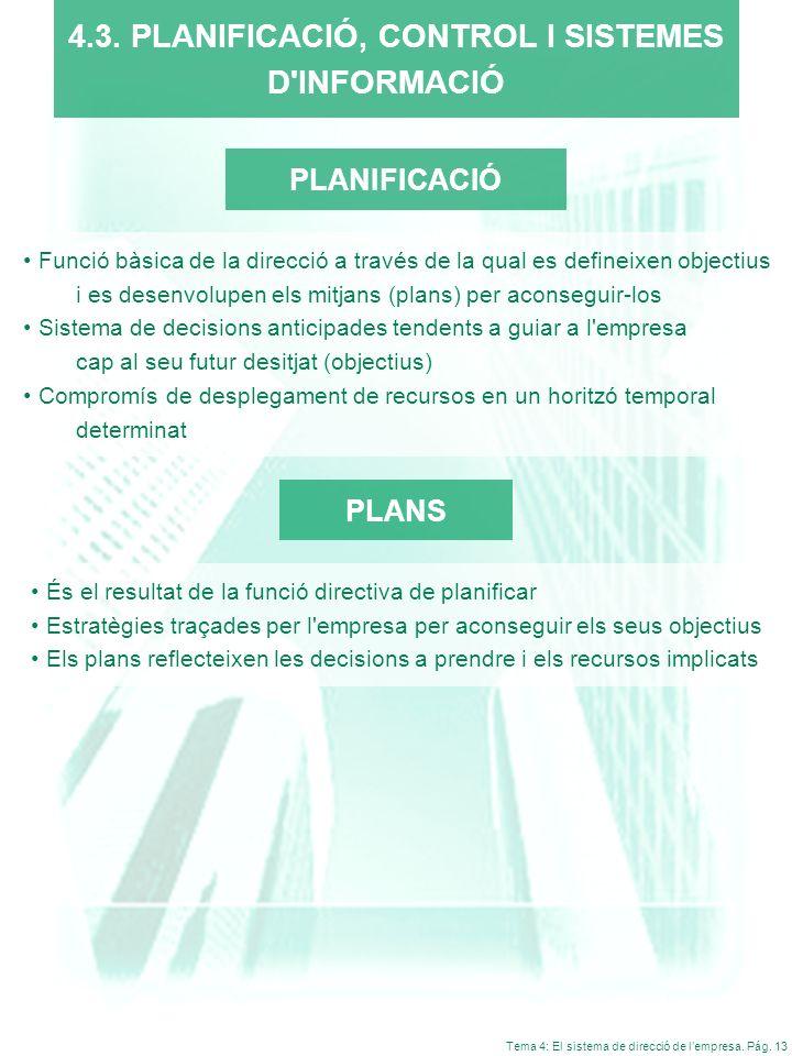 Tema 4: El sistema de direcció de lempresa. Pág. 13 PLANIFICACIÓ Funció bàsica de la direcció a través de la qual es defineixen objectius i es desenvo