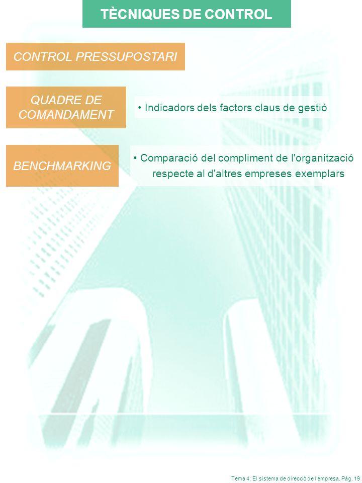 Tema 4: El sistema de direcció de lempresa. Pág. 19 TÈCNIQUES DE CONTROL CONTROL PRESSUPOSTARI BENCHMARKING QUADRE DE COMANDAMENT Indicadors dels fact