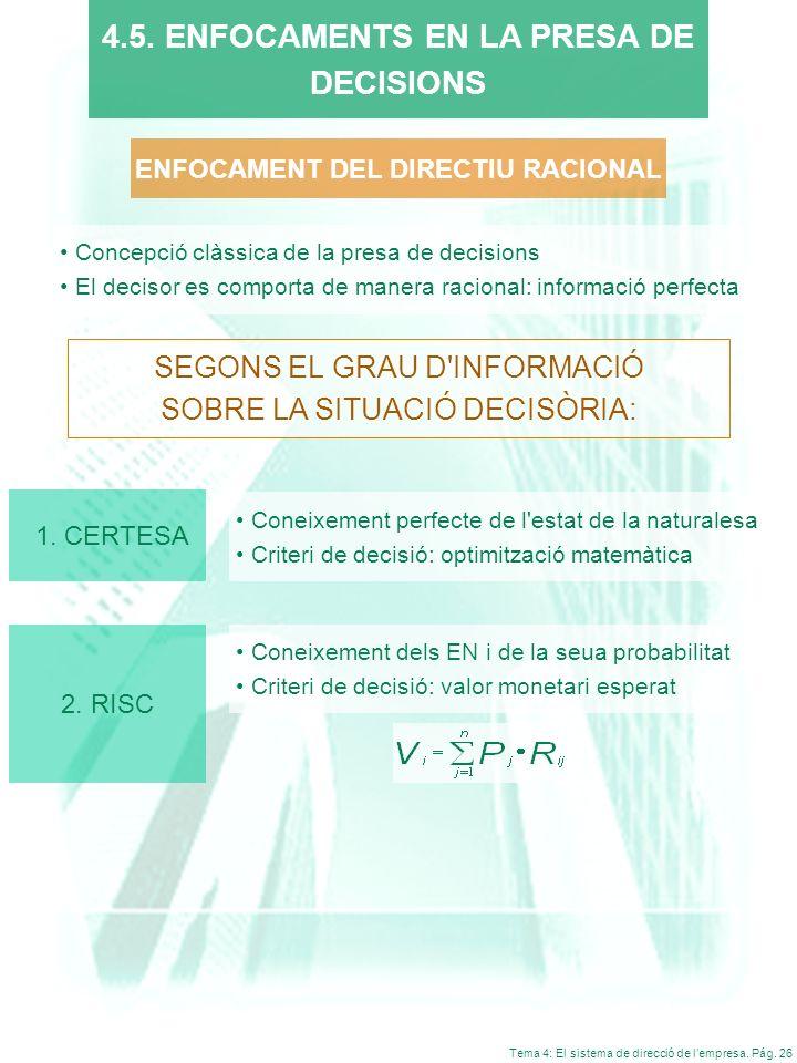 Tema 4: El sistema de direcció de lempresa. Pág. 26 4.5. ENFOCAMENTS EN LA PRESA DE DECISIONS SEGONS EL GRAU D'INFORMACIÓ SOBRE LA SITUACIÓ DECISÒRIA: