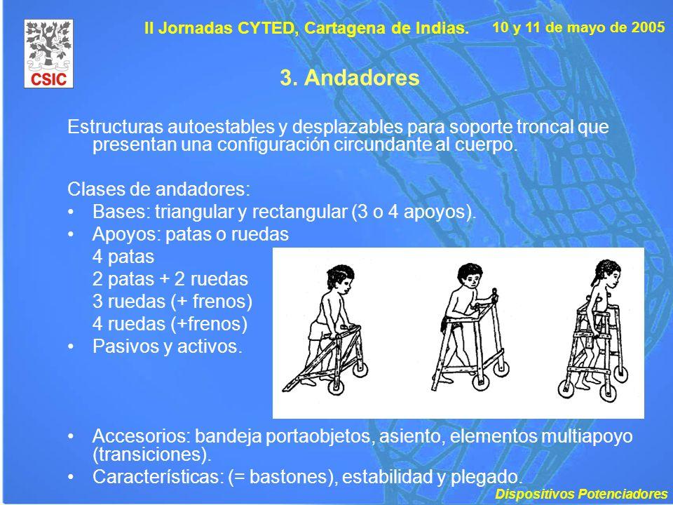 10 y 11 de mayo de 2005 II Jornadas CYTED, Cartagena de Indias. 3. Andadores Estructuras autoestables y desplazables para soporte troncal que presenta