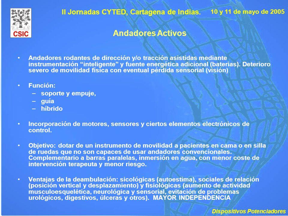 10 y 11 de mayo de 2005 II Jornadas CYTED, Cartagena de Indias. Andadores Activos Andadores rodantes de dirección y/o tracción asistidas mediante inst