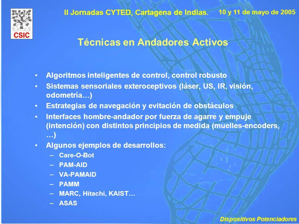 10 y 11 de mayo de 2005 II Jornadas CYTED, Cartagena de Indias. Técnicas en Andadores Activos Algoritmos inteligentes de control, control robusto Sist