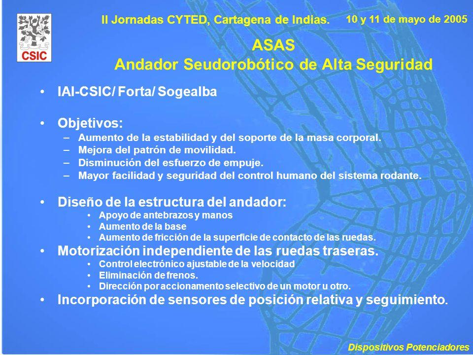 10 y 11 de mayo de 2005 II Jornadas CYTED, Cartagena de Indias. ASAS Andador Seudorobótico de Alta Seguridad IAI-CSIC/ Forta/ Sogealba Objetivos: –Aum