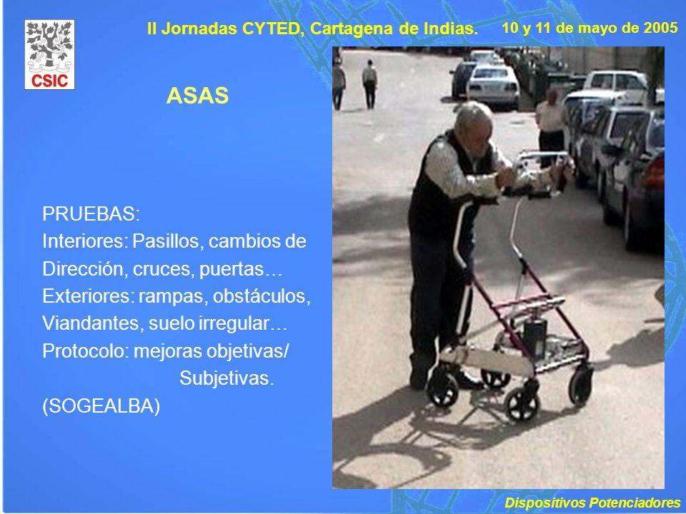 10 y 11 de mayo de 2005 II Jornadas CYTED, Cartagena de Indias. ASAS PRUEBAS: Interiores: Pasillos, cambios de Dirección, cruces, puertas… Exteriores: