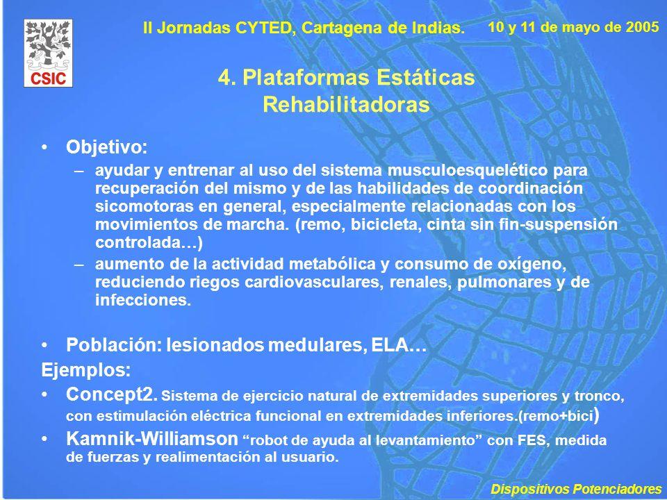 10 y 11 de mayo de 2005 II Jornadas CYTED, Cartagena de Indias. 4. Plataformas Estáticas Rehabilitadoras Objetivo: –ayudar y entrenar al uso del siste