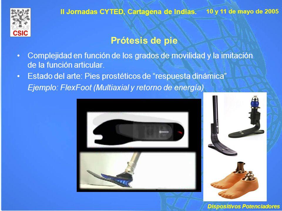 10 y 11 de mayo de 2005 II Jornadas CYTED, Cartagena de Indias. Prótesis de pie Complejidad en función de los grados de movilidad y la imitación de la